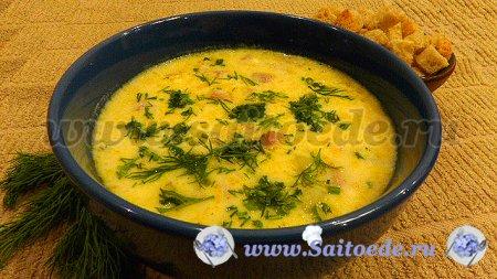 Сливочно - сырный суп с ветчиной