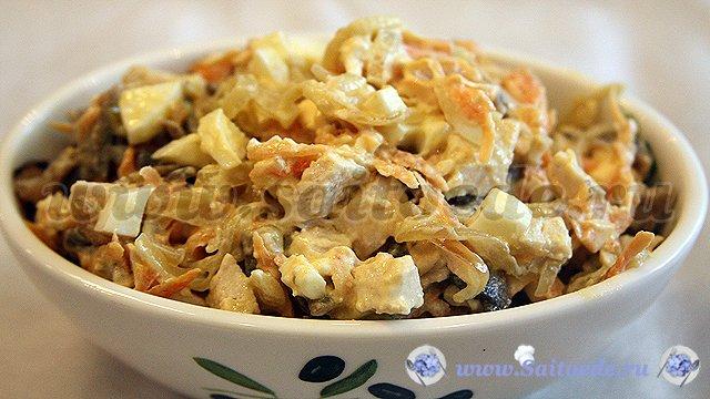 рецепт салата с майонезом грибами