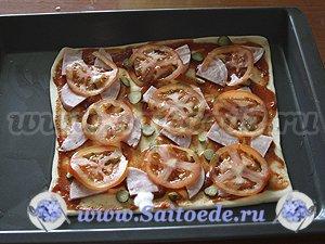 Пицца из слоеного теста с ветчиной