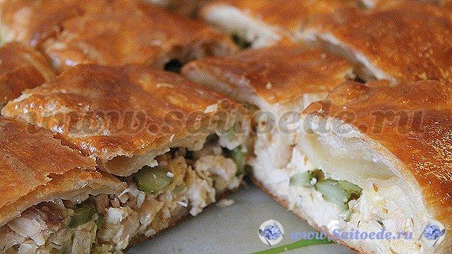рецепт пирога с курицей и сыром из слоеного теста