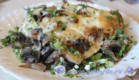 Куриные грудки с грибами запеченные в духовке