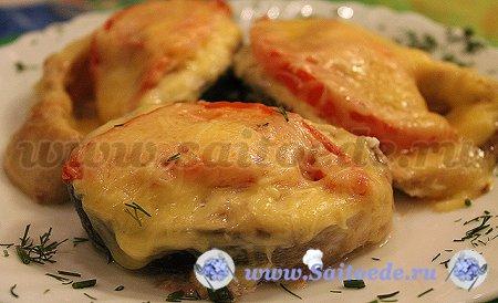 Горбуша с помидорами и сыром запеченная в духовке
