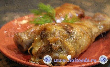 Куриные голени фаршированные грибами и сыром